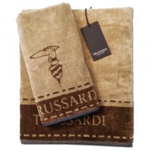 Trussardi set 1+1 asciugamano e ospite in spugna BORDER STITCH beige