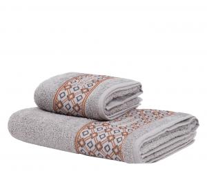 Trussardi set 1+1 asciugamano e ospite in spugna DANDY SOLID grigio perla