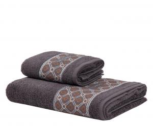 Trussardi set 1+1 asciugamano e ospite in spugna DANDY SOLID grigio asfalto