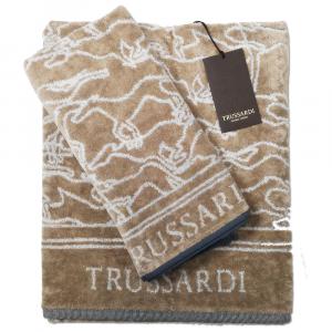 Trussardi set 1+1 asciugamano e ospite in spugna GREYHOUND - sabbia