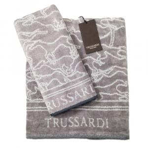 Trussardi set 1+1 asciugamano e ospite in spugna GREYHOUND - grigio