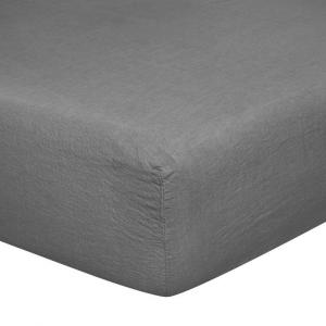 Sotto lenzuolo con angoli matrimoniali 170x200 cm in puro lino LOFT - antracite
