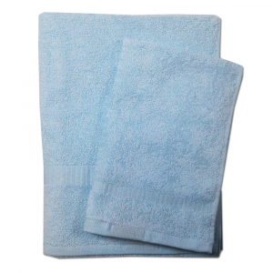 Set 1+1 asciugamano e ospite  SERENITY in spugna - celeste 006