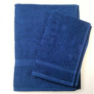 Set 1+1 asciugamano e ospite SERENITY in spugna - blu navy N36