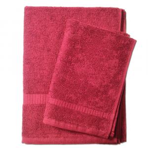Set 1+1 asciugamano e ospite  SERENITY in spugna - bordeaux 085