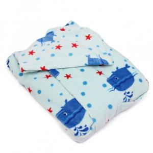 Accappatoio per bambino in spugna con cappuccio PRETTI Balene - acqua XS - 1-2 anni
