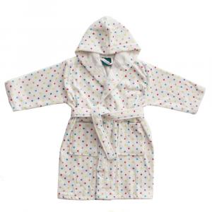 Accappatoio per bambino in spugna con cappuccio PRETTI pois - XM - 3-4 anni