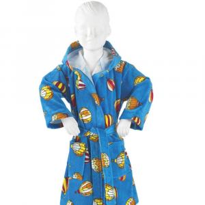 Accappatoio per bambino in spugna con cappuccio PRETTI Mongolfiere turchese XM - 3-4 anni