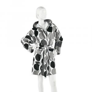 Accappatoio donna in spugna con cappuccio PRETTI Minimal - bianco e nero L