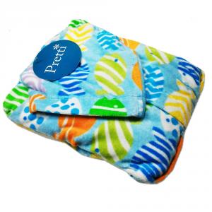 Accappatoio per bambino in spugna con cappuccio PRETTI Pesciolini - azzurro XL - 5 anni