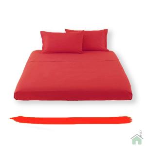 Lenzuolo piano di sopra in tinta unita HAPPIDEA puro cotone - rosso matrimoniale