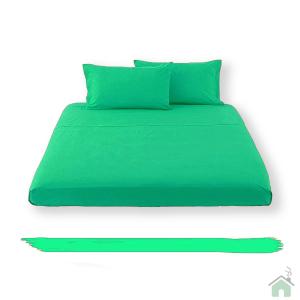 Lenzuolo piano di sopra in tinta unita HAPPIDEA puro cotone - smeraldo matrimoniale