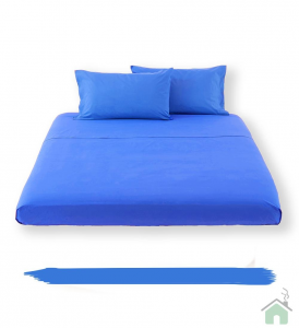 Lenzuolo piano di sopra in tinta unita HAPPIDEA puro cotone - azzurro royal piazza e mezza
