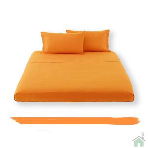 Lenzuolo piano di sopra in tinta unita HAPPIDEA puro cotone - arancione matrimoniale