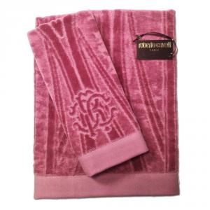 Roberto Cavalli set 1+1 asciugamano e ospite DECO' spugna di puro cotone - malva