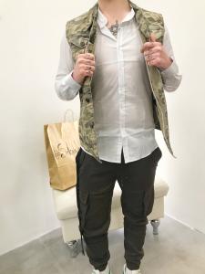 Gilet uomo in jeans fantasia camouflage|TG S, M, L