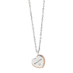 Collana BE HAPPY oro 9k bianco e rosa doppio cuore con diamantino