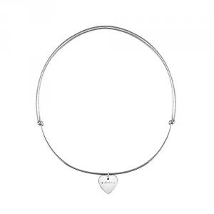 Girocollo MINIMAL POP EXT con ciondolo a cuore in oro bianco9k con cavetto pelle argentata