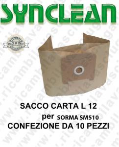 SACCHETTI CARTA litri 12 per ASPIRAPOLVERE SORMA mod. SM510 confezione da 10 pezzi