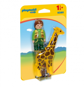 PLAYMOBIL CUSTODE DELLO ZOO CON GIRAFFA 1.2.3 9380