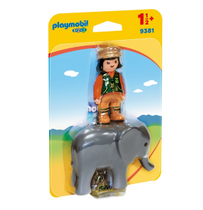 PLAYMOBIL CUSTODE DELLO ZOO CON ELEFANTE 1.2.3 9381