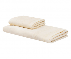 Roberto Cavalli set 1+1 asciugamano e ospite VENEZIA spugna di puro cotone - avorio