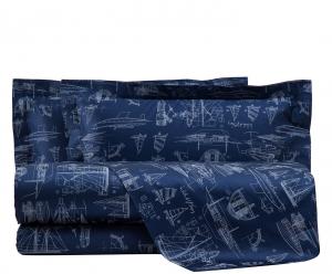 Set lenzuola matrimoniale MIRABELLO raso BATEAUX blu marino