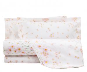 Set lenzuola matrimoniale MIRABELLO percalle MARGUERITE rosa