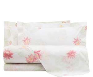 Set lenzuola matrimoniale 2 piazze MIRABELLO percalle NINFEE floreale rosa