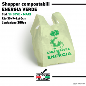Shopper ENERGIA Verde - F.to 30+9+9x60 - 300pz