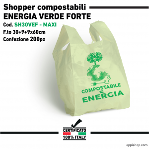 Shopper ENERGIA FORTE Verde - F.to 30+9+9x60 - 200pz
