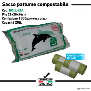 Sacco pattume compostabile a rotoli - F.to 22+20x40 - 40rotoli x 25pz