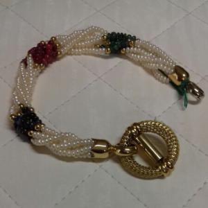 Bracciale donna in perle, zaffiri, rubini, smeraldi con chiusura in oro,  vendita on line | GIOIELLERIA BRUNI Imperia