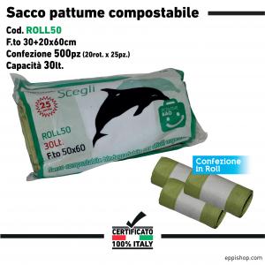 Sacco pattume compostabile a rotoli - F.to 30+20x60 - 20rotoli x 25pz