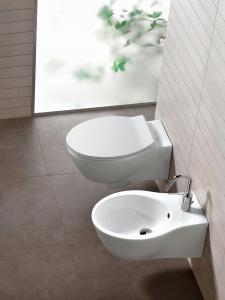 Vaso e bidet sospeso per il bagno cm 54,8 x 36,3 Nido Hatria