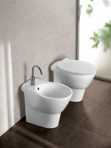 Vaso e bidet a terra per il bagno cm 55,5 x 35,5 Nido Hatria