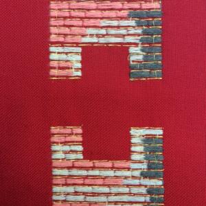 Stola S28 M1 Rossa Ricamo Ulivo - Terital Lana
