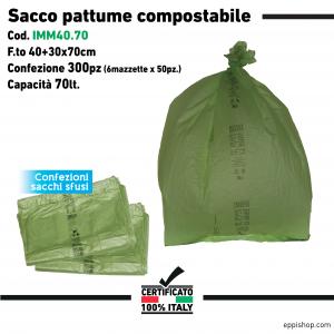 Sacco pattume compostabile sfusi - F.to 40+30x70 - 6mazzette x 50pz