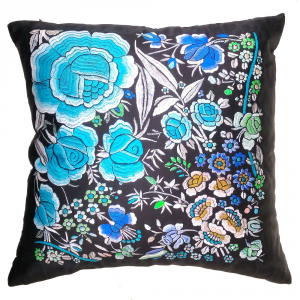 Cuscino decorativo ROBERTO CAVALLI 40x40 cm in raso ENCHANTED GARDEN azzurro