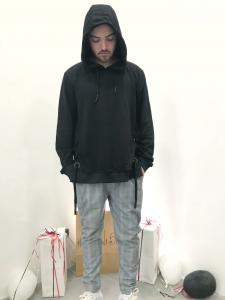 Felpa uomo in cotone garzato con lacci laterali e cappuccio |TG S, M, L, XL,XXL
