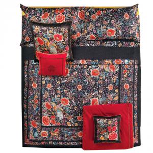 Roberto Cavalli set lenzuola matrimoniale in raso di cotone ENCHANTED GARDEN rosso