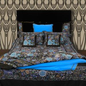 Roberto Cavalli set lenzuola matrimoniale in raso di cotone ENCHANTED GARDEN azzurro