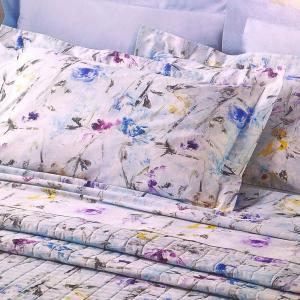 Set lenzuola matrimoniale MIRABELLO in raso ROSALIND azzurro