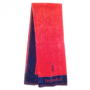 Telo da mare in spugna 95x180 cm TRUSSARDI Border Stitch rosso e blu