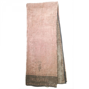 Telo da mare in spugna 95x180 cm TRUSSARDI Border Stitch rosa