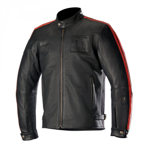 Giacca moto pelle Oscar by Alpinestars CHARLIE Tech-AIR compatibile nero rosso