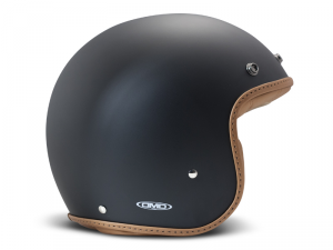 Casco Jet DMD Leather Vintage Pillow in carbonio Nero Opaco Marrone