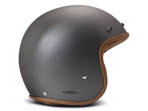 Casco Jet DMD Leather Vintage Pillow in carbonio Grigio Opaco Marrone