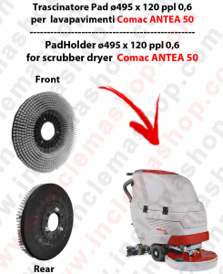 ANTEA 50 Cleaning BRUSH  in PPL 0,60 Dimensions ø 495 X 120 3 pioli for scrubber dryers COMAC
