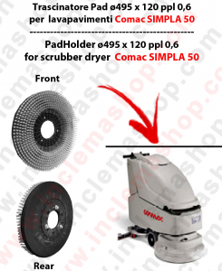 SIMPLA 50 Cleaning BRUSH  in PPL 0,60 Dimensions ø 495 X 120 3 pioli for scrubber dryers COMAC